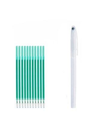 armex Isı Ve Buharla Uçan Kalem Ve 10 Adet Kalem Ucu Yeşil 0.5 Mm Iğne Uçlu 0