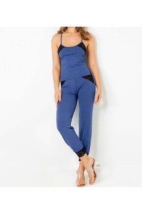 Kadın Lacivert Dantel Detaylı Pijama Takımı MG-000063