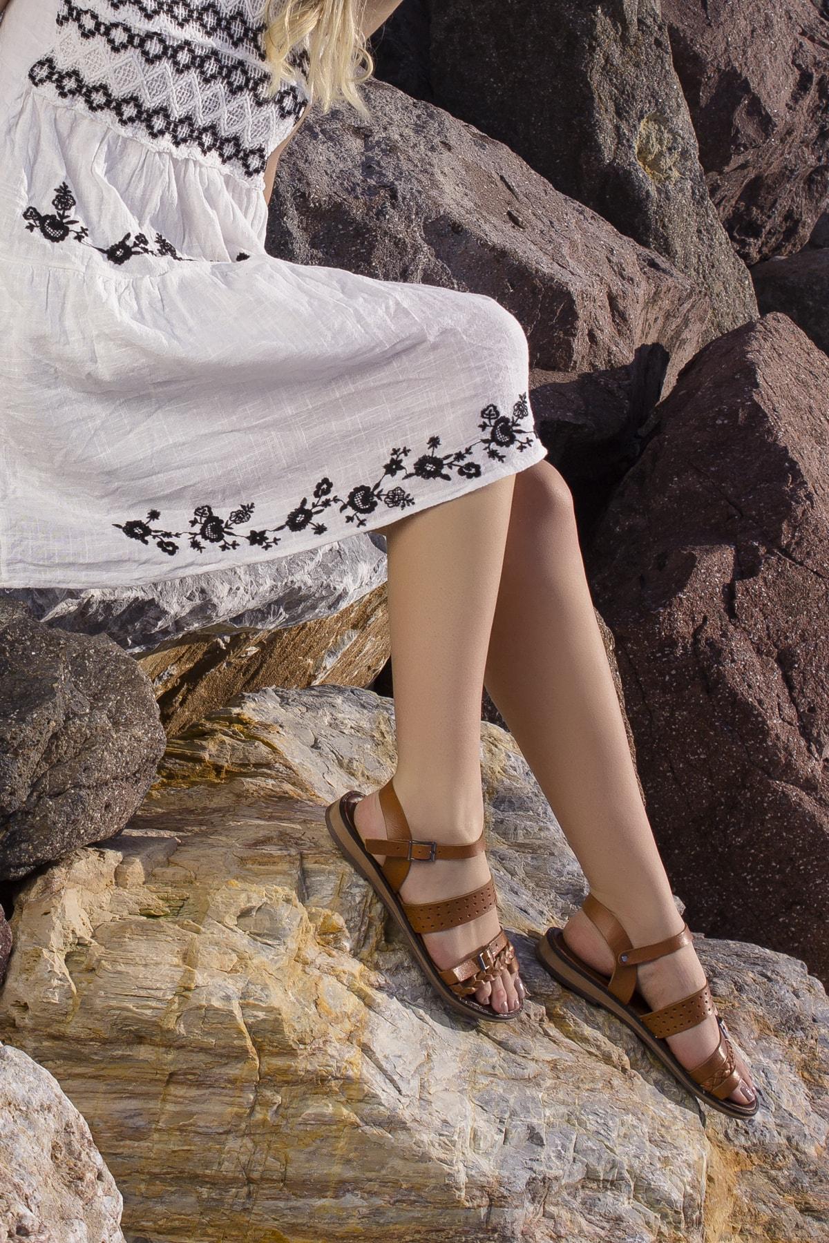Kadın Taba Hakiki Deri Sandalet Rt-7013