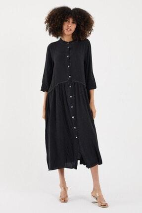 Cotton Mood Kadın Sıyah Yıkamalı Hakim Yaka Düğmeli Salash Uzun Elbise 0