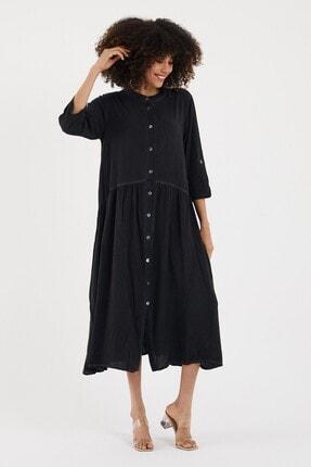 Cotton Mood Kadın Sıyah Yıkamalı Hakim Yaka Düğmeli Salash Uzun Elbise 4