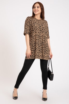 GİYSA Kadın Kahverengi Duble Kol Batik Kaşkorse Leopar T-shirt 3682 1