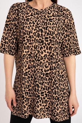 GİYSA Kadın Kahverengi Duble Kol Batik Kaşkorse Leopar T-shirt 3682 2