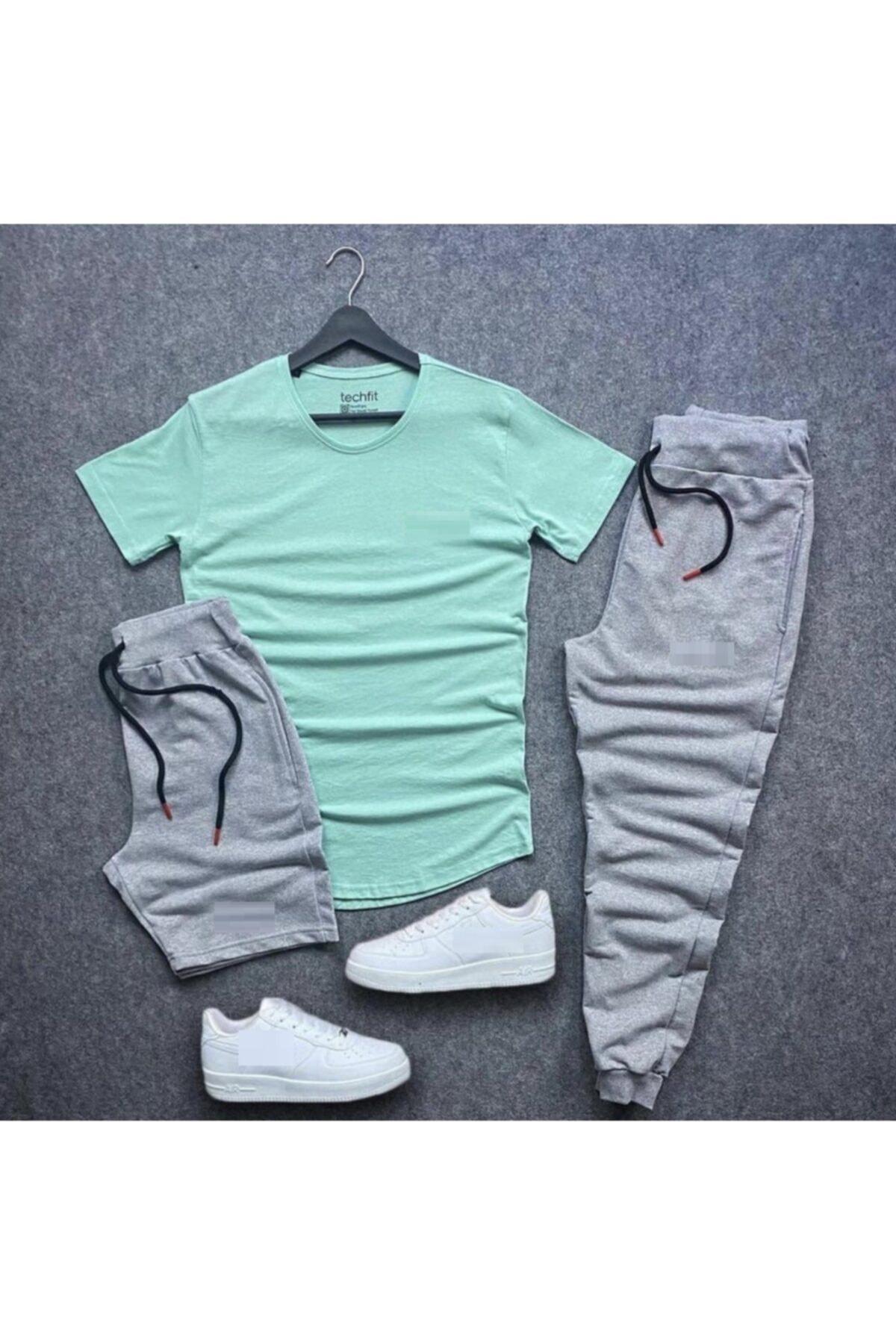 Unisex Gri Eşofman Şort Tshirt Takım 3'lü Set