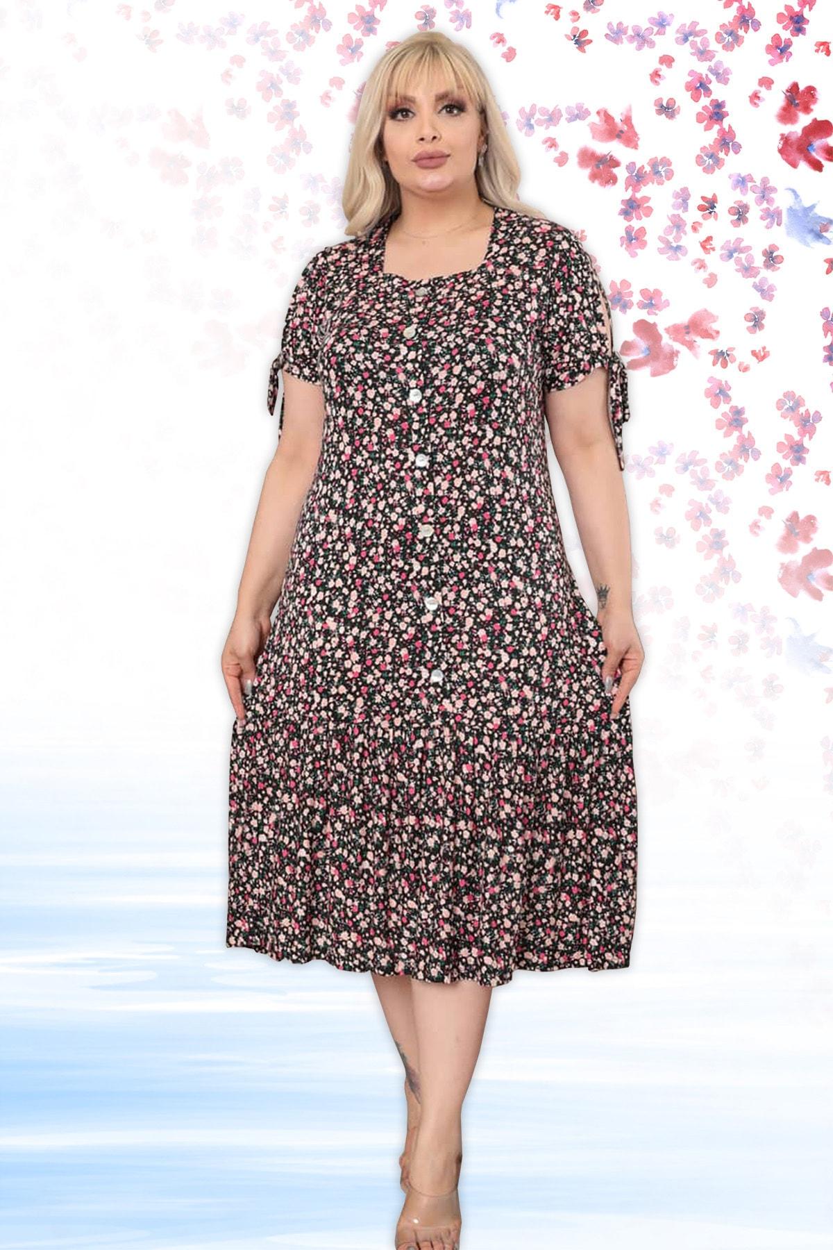 Kadın Siyah Önden Düğmeli Ve Çiçek Desenli Viskon Likralı Kısa Kollu Elbise