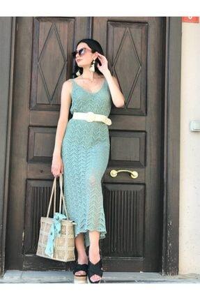 Mint Yeşili Askılı Elbise 130EL