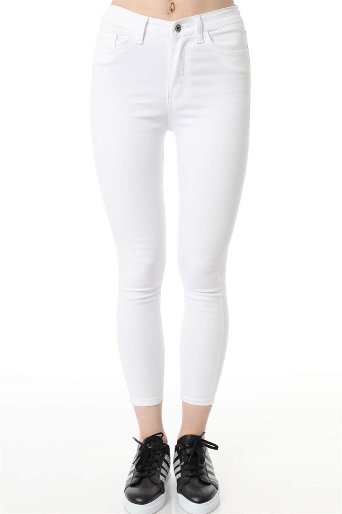 Kadın Yüksek Bel Dar Paça Skinny Fit Denim Jeans Kot Pantolon Beyaz