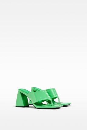 Bershka Kadın Yeşil Blok Topuklu Sandalet 0