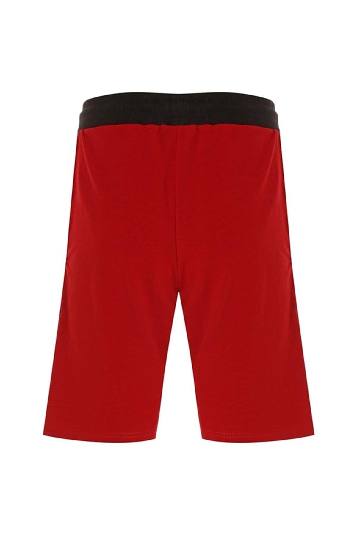 Gymlegend Erkek Kırmızı Yazı Şeritli Bağcıklı Cepli Likralı Iki Iplik Spor Şort