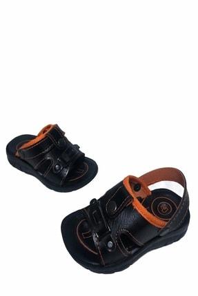 Gezer Çocuk Dört Nokta Deri Ortapedik Siyah-turuncu Sandalet Terlik- Altın Adım Ayakkabı 2