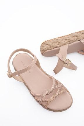 Picture of Kadın Altın Hasır Dolgu Topuk Sandalet Hunlez