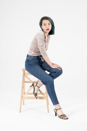 CZ London Kadın Yeşil Hakiki Deri Bilekten Bağlamalı Topuklu Sandalet 0