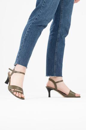 CZ London Kadın Yeşil Hakiki Deri Bilekten Bağlamalı Topuklu Sandalet 1