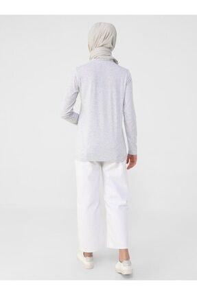 Refka Kadın Gümüş Uzun Kollu Pamuk Kumaşlı Basic T-Shirt 4