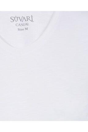 SÜVARİ Dar Kalıp V Yaka Likralı T-shirt 2'li 4