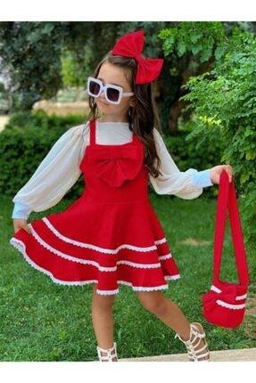 Riccotarz Kız Çocuk Kırmızı Bluzlu Çantalı Elbise 0