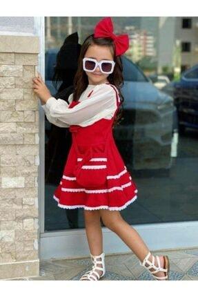 Riccotarz Kız Çocuk Kırmızı Bluzlu Çantalı Elbise 2