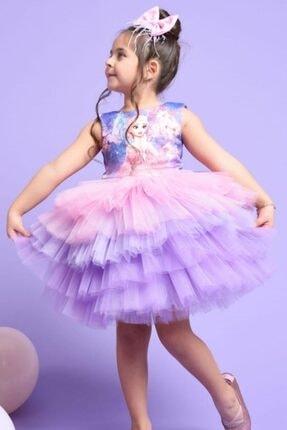 Riccotarz Kız Çocuk Elsa Tütülü Katkat Renkli Elbise 3