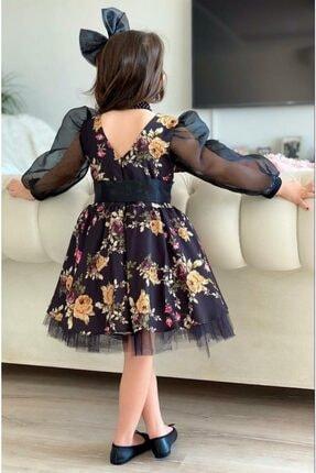Riccotarz Kız Çocuk Black Flowers Tütülü Elbise 1