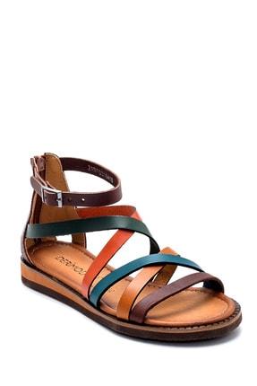 Derimod Kadın Kahverengi Deri Sandalet 2