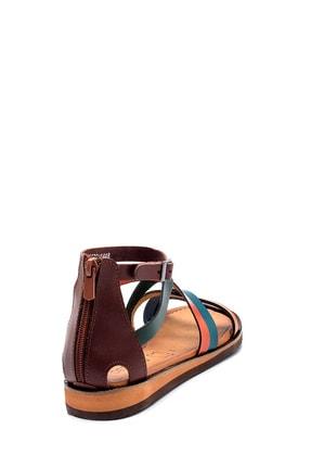 Derimod Kadın Kahverengi Deri Sandalet 4