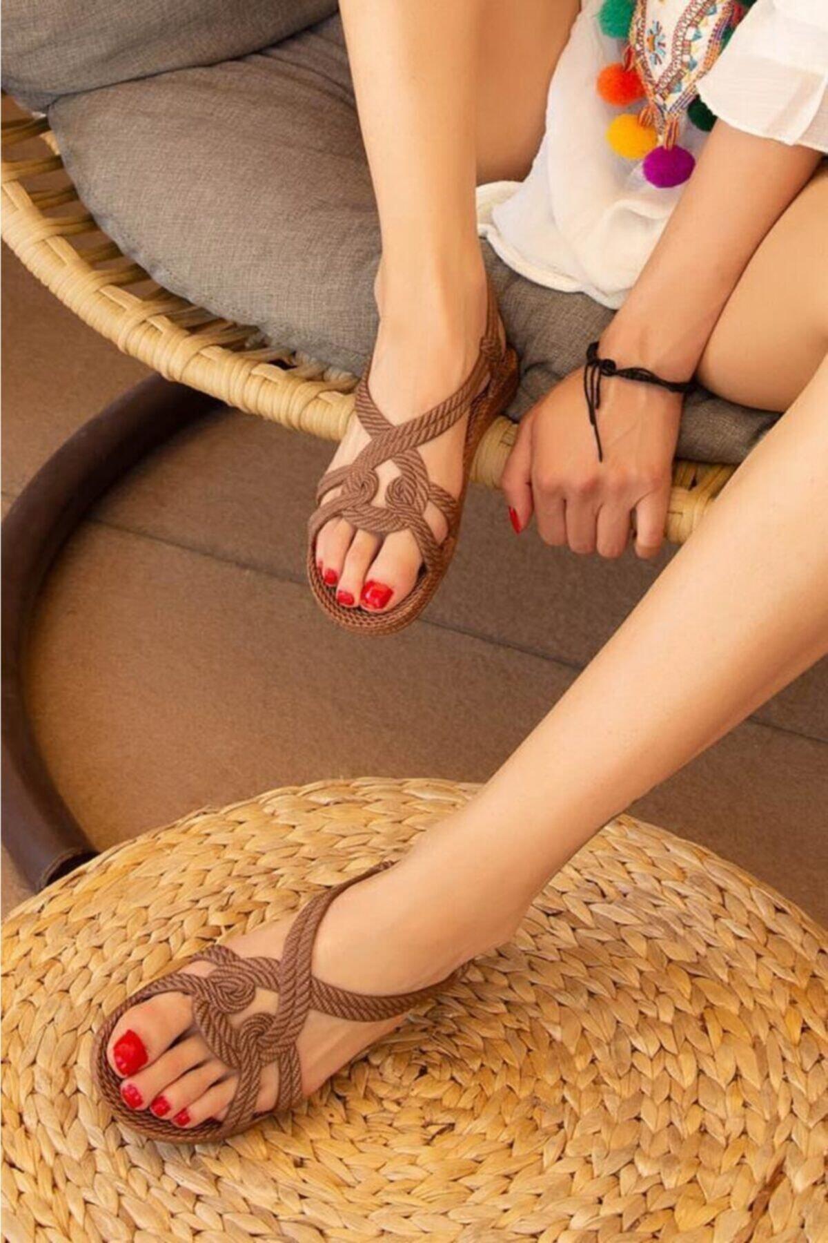 Kadın Kahverengi Yazlık Plaj Sandalet N0:39