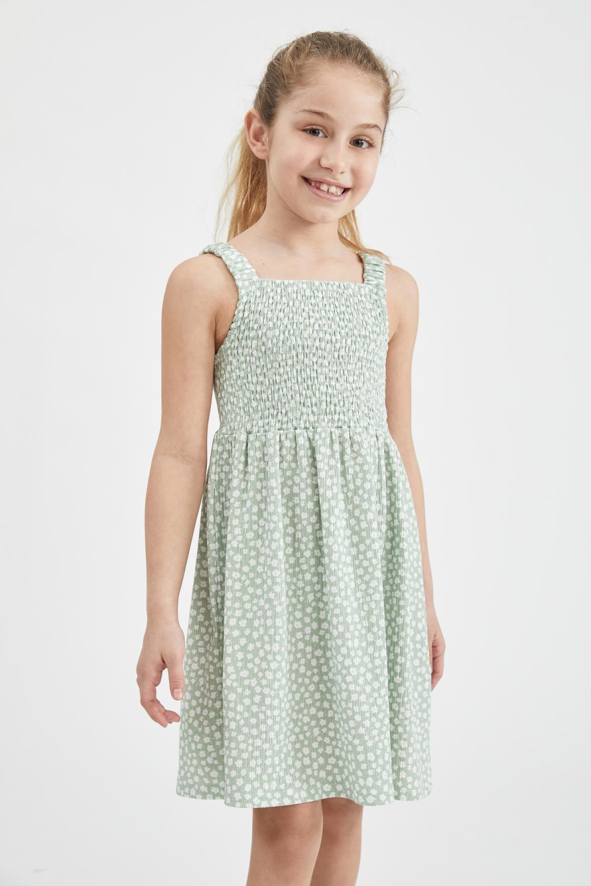 Kız Çocuk Yeşil Çiçek Desenli Askılı Elbise