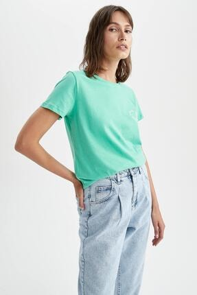 Kadın Turkuaz Slogan Baskılı Relax Fit Kısa Kollu T-shirt U5485AZ21HS
