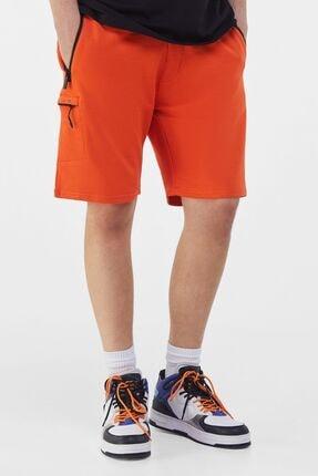 Bershka Erkek Turuncu Cepli Pamuklu Jogger Bermuda Şort 02733478 0