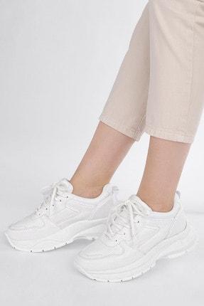 Marjin Kadın Sneaker Dolgu Topuk Spor Ayakkabı Besribeyaz 1