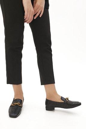 Marjin Kadın Loafer Ayakkabı Alvasiyah Croco 1
