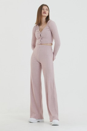 COMEOR Kadın Pembe Önden Düğmeli Uzun Kollu Crop Takım 4