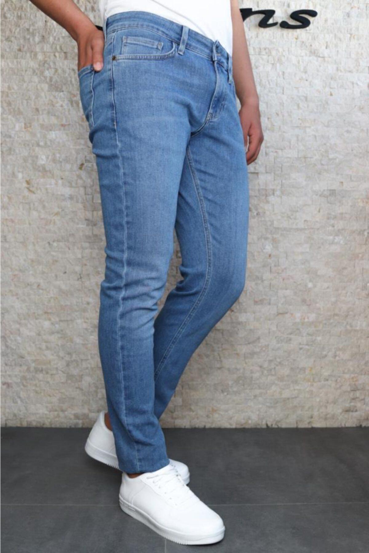 Erkek Mavi Slim Fit Taşlamalı Kot Pantolon Hlthe001941