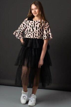 Riccotarz Kız Çocuk Pudra Tişörtlü Tüllü Elbise 0