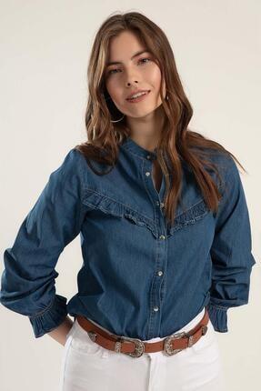 Pattaya Kadın Fırfırlı Uzun Kollu Kot Gömlek Y20s110-3799 1