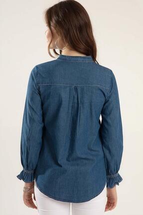 Pattaya Kadın Fırfırlı Uzun Kollu Kot Gömlek Y20s110-3799 3