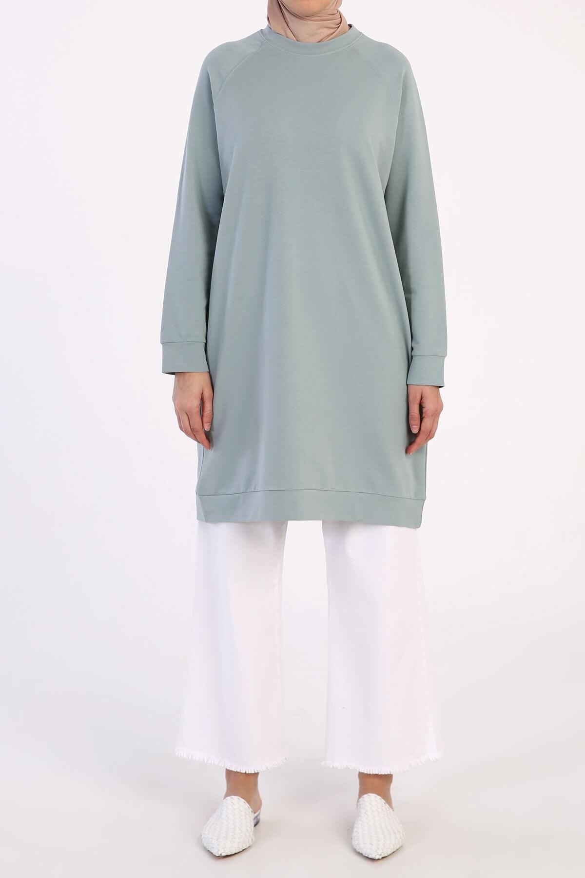 Kadın Mint Reglan Kol Basic Sweat Tunik