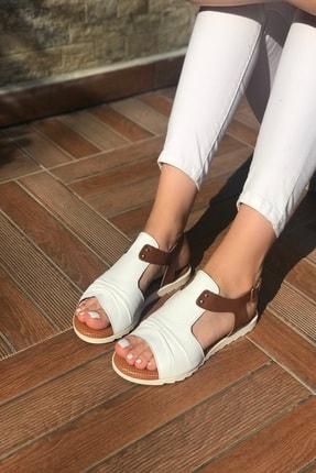 Kadın Beyaz Hakiki Deri Sandalet HAKİKİ DERİ KADIN SANDALET BEYAZ