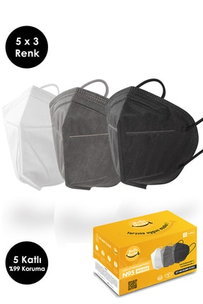 Mutlu Maske Çift Meltblown Filtreli 5 Katlı Siyah Beyaz Antrasit Gri Karışık Renkli N95 Maske Seti (5 X 3 RENK) 0