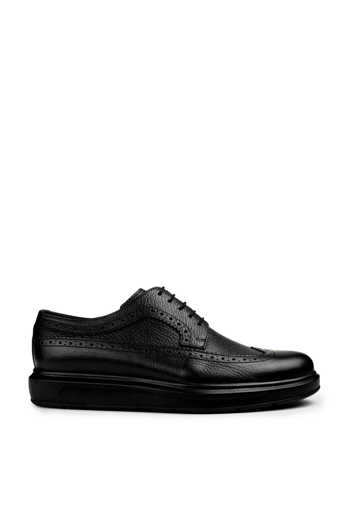 Erkek Siyah Hakiki Deri Günlük Ayakkabı