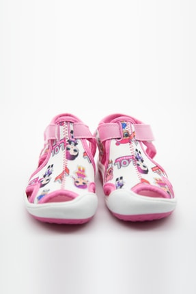 modawars Kız Çocuk Beyaz Pembe Kumaş Sandalet 3