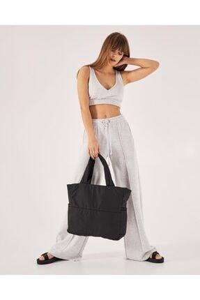 Shule Bags Kabartmalı Puf Kumaş Shopper Çanta Napoli Siyah 2