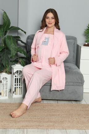 BOYRAZ Kadın Pembe Hamile Lohusa Sabahlıklı Pijama Takımı 3'lü 2