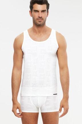 Picture of Anka Askılı Modal Jakar Desen Erkek Atlet Beyaz