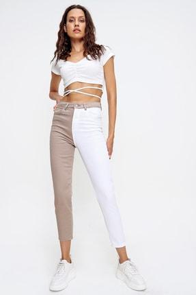 Trend Alaçatı Stili Kadın Bej Renk Bloklu Yüksek Bel Jean ALC-X6437 1
