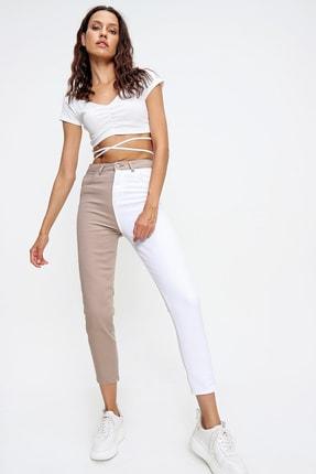 Trend Alaçatı Stili Kadın Bej Renk Bloklu Yüksek Bel Jean ALC-X6437 3