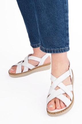 Marjin Kadın Beyaz Düz Topuklu Sandalet 3
