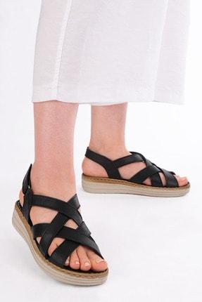 Marjin Kadın Hakiki Deri Sandalet Foletasiyah 1