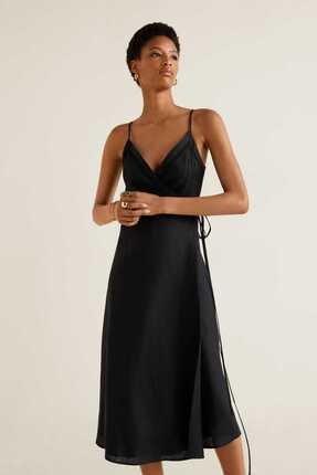 Picture of Kadın Siyah Anvelop Keten Elbise
