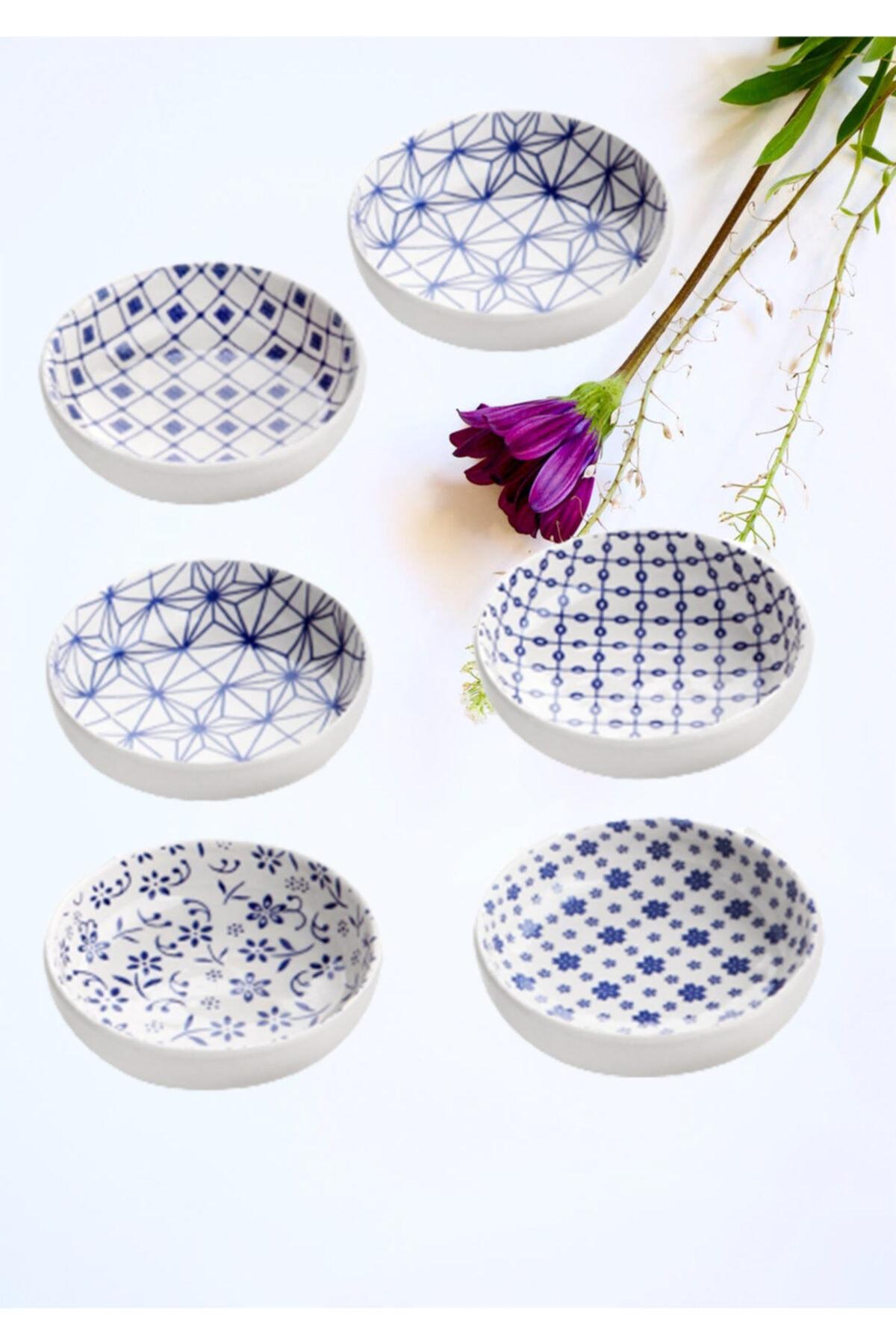 Mavi Çini Desen 6'lı Sosluk Ve Reçellik Plt0158